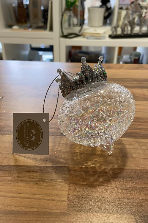 Tapered Glass Bauble with Silver Crown