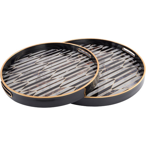 Libra Set of Two Black and Antique Gold Geometric Pattern Trays