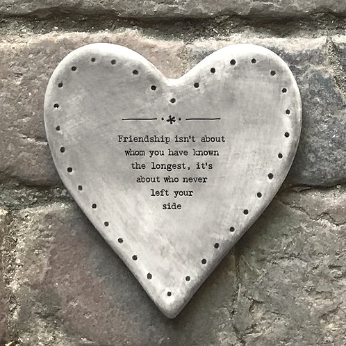 East of India Rustic Heart Coaster - Friendship about the longest