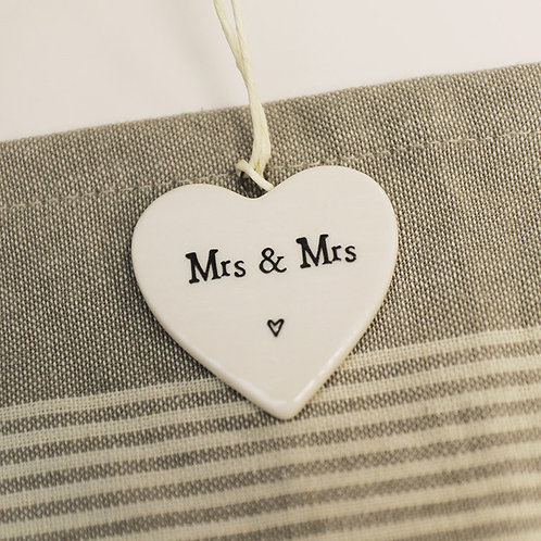 East of India Small Hanging Heart  -Mrs and Mrs