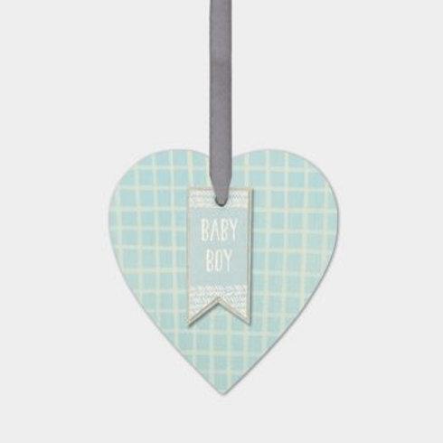 Baby Boy Wooden Hanging Heart