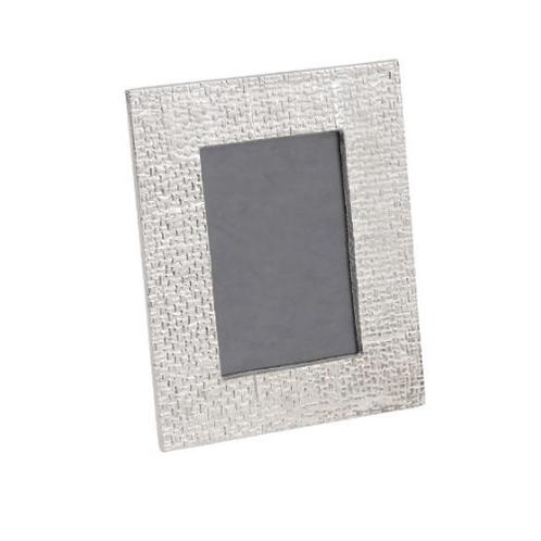 Libra Portia Woven Silver Aluminium 4x6 inch Photo Frame