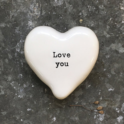 East of India White Heart Token - Love You