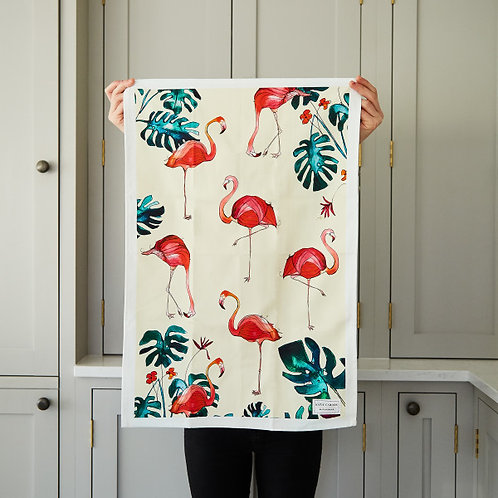 Flamingo Cotton Tea Towel