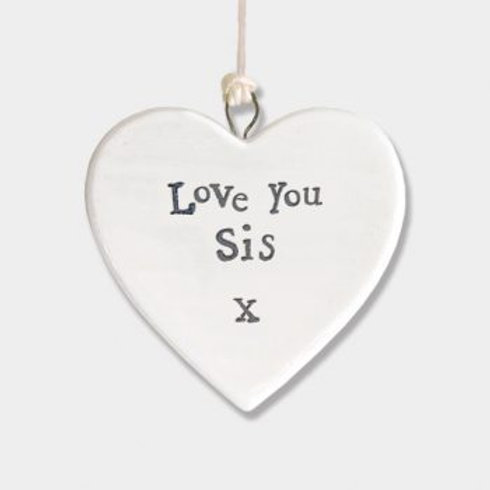 East of India Small Hanging Heart - Love sis