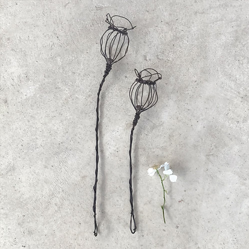East of India Wire Sprig - Poppy head