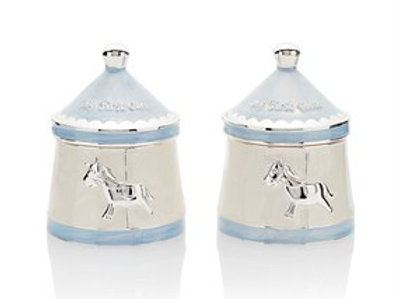 Leonardo Collection Carousel Blue First Tooth and Curl Keepsake Pots