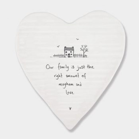 Our family is just the right amount... Heart Coaster