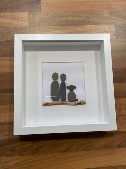 Two Adults and A Dog Stone Frame