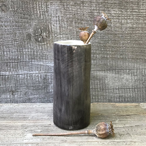 East of India Black Wash Medium Hand Painted Vase