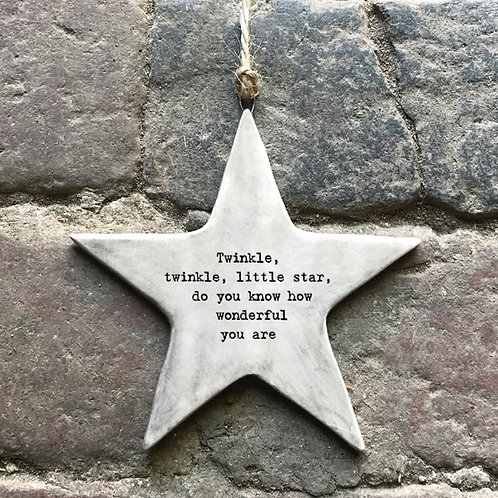 East of India Rustic Hanging Star - Twinkle wonderful you are