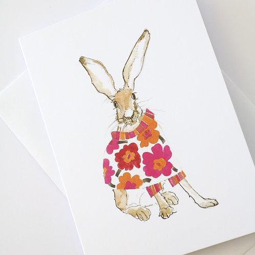 Hare in the Sweater - Pink Maija Sweater Card