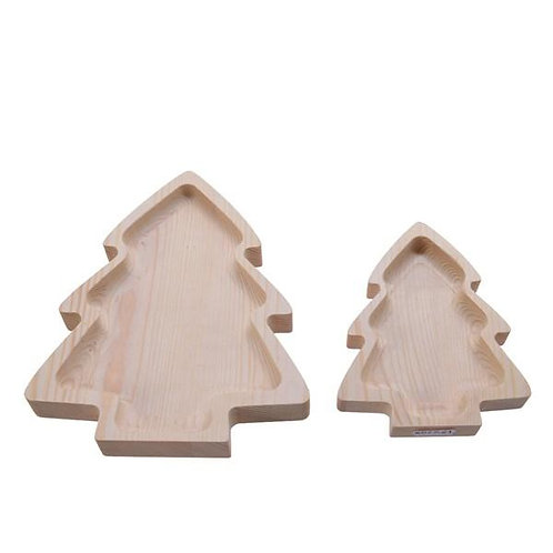 Pinewood Christmas Tree Tray Set of 2