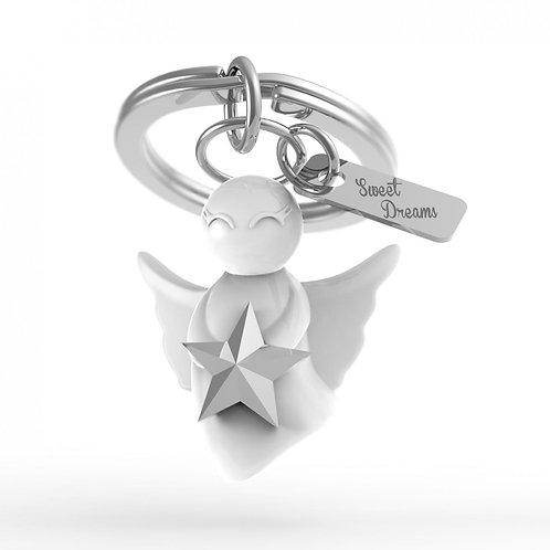 Oli Olsen White Angel with Silver Star Keyring
