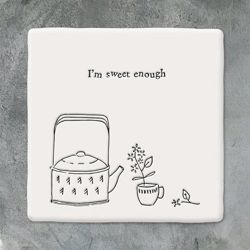 East of India 'I'm Sweet Enough' Porcelain Coaster