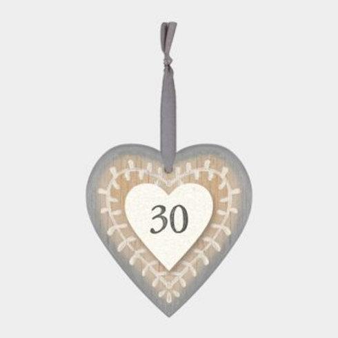 30 Wooden Heart Hanger