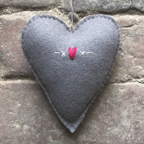East of India Large Embroidered Heart - Grey/Hearts and Crosses