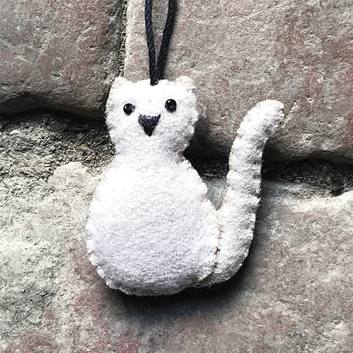 East of India Felt Hanging Cat - Various Colours