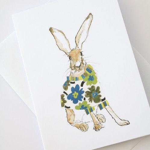 Hare in the Sweater - Green Maija  Sweater Card