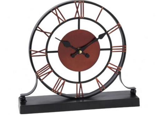 Libra Black and Dark Red Skeleton Mantel Clock