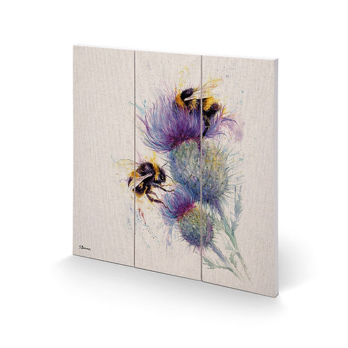 Jane Bannon Bees on Thistle Wooden Print