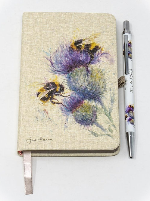 Field and Fur (Bees on a Thistle) A6 Notebook and Pen