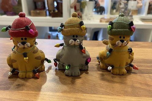 Set of 3 Cats in Christmas Hats
