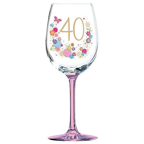 Lulu 40th Birthday Wine Glass