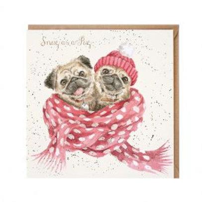 Wrendale Snug as a Pug Christmas Card