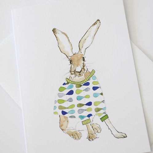 Hare in the Sweater - Orla Sweater Card