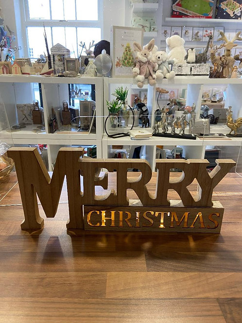 Wooden Light Up Merry Christmas Sign