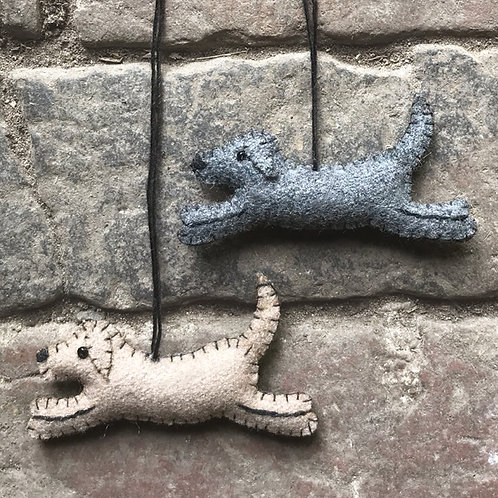 East of India Felt Hanging Running Dog - Various Colours