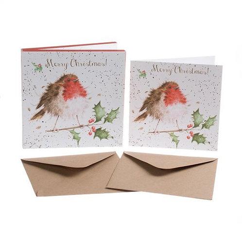 Wrendale 'Jolly Robin' Xmas Card Pack