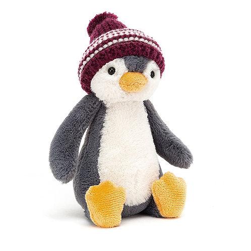 Jellycat Bashful Burgundy Bobble Hat Penguin