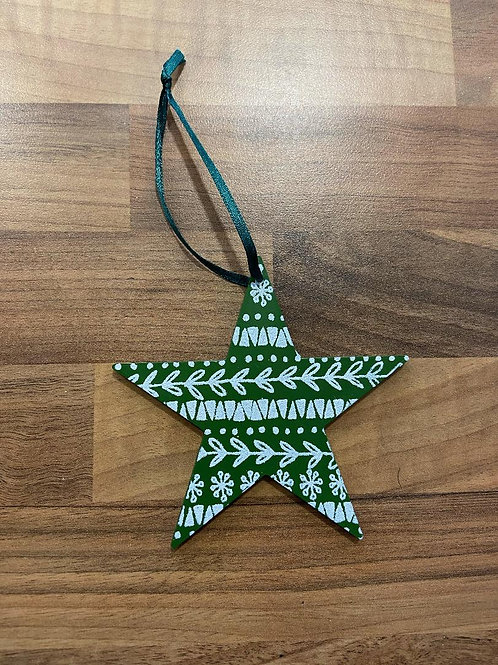 Green Wooden Star Hanging Decoration
