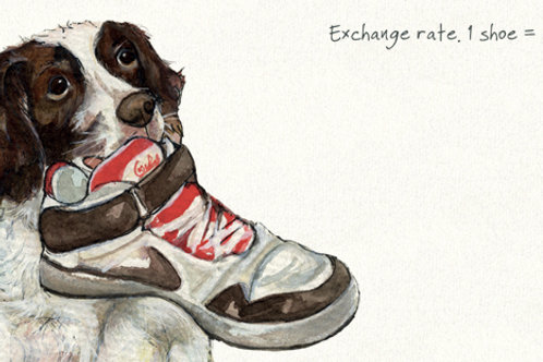 Exchange rate, 1 shoe = 3 biscuits... Little Dog Laughed Card
