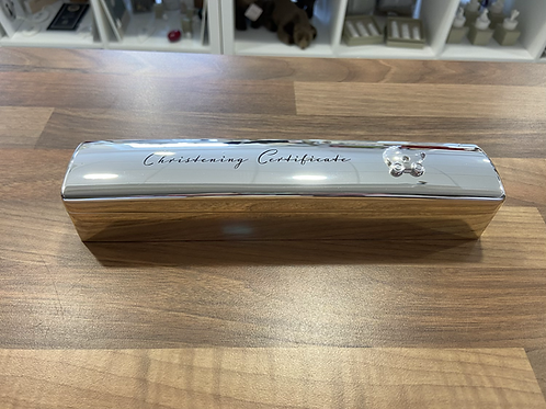 Silver Plated Christening Certificate Box