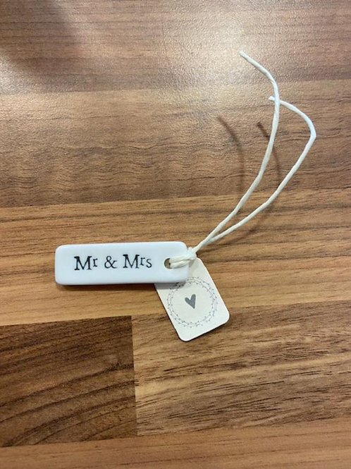 East of India Porcelain Tag - Mr and Mrs