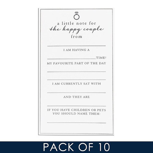 Amore Pack of 10 Wedding Guest Little Note Cards