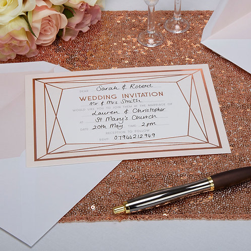 Geo Blush Pack of 10 Wedding Invitation Cards