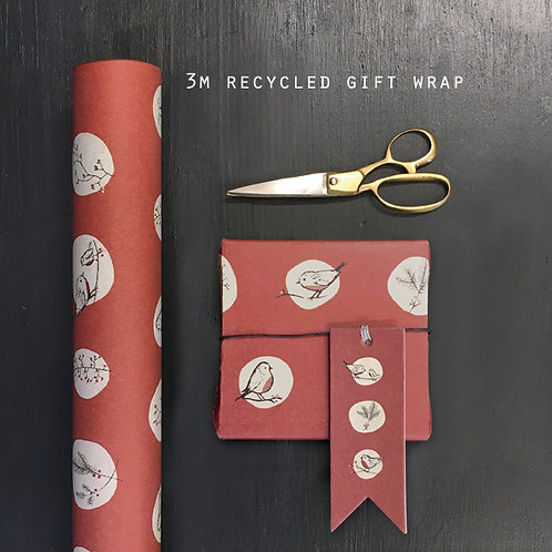 East of India Red Robins and Rosehips Gift Wrap