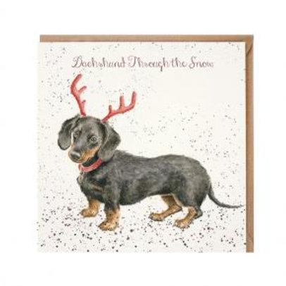 Wrendale Dachshund through the Snow Christmas Card