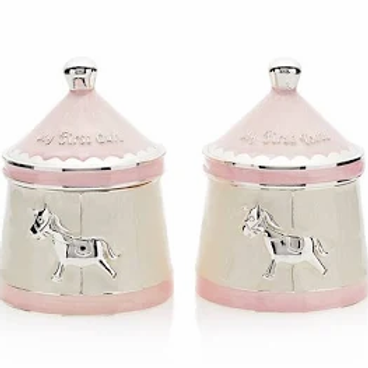 Leonardo Collection Carousel Pink First Tooth and Curl Keepsake Pots