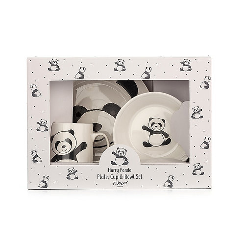 Jellycat Harry Panda Plate, Cup and Bowl Set