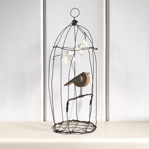 East of India Naive bird in wire cage - Large