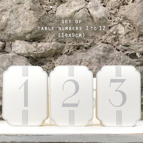 East of India Set of table numbers - 1 to 12