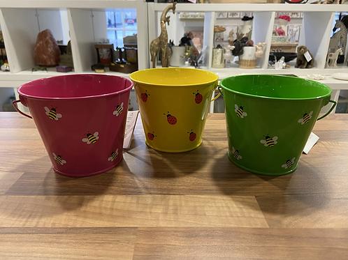 Children's Coloured Metal Buckets