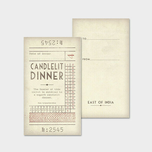 East of India Ticket No.4 - Candlelit Dinner