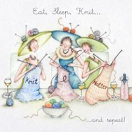 Eat, Sleep, Knit... and repeat! Berni Parker Card