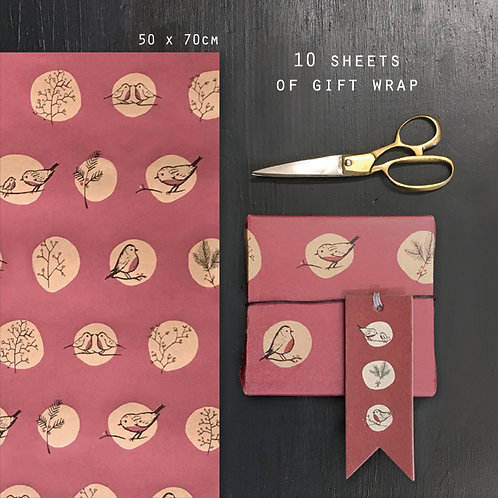 East of India Sheets of Gift Wrap - Red Robins and Rosehips